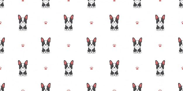 Zeichentrickfigur boston terrier hund nahtlosen musterhintergrund