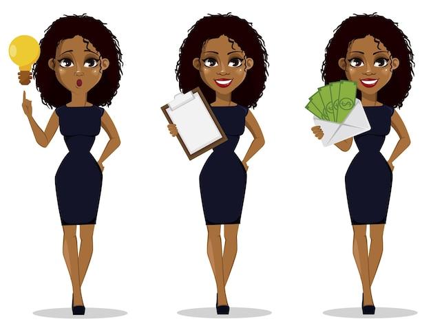 Zeichentrickfigur der afroamerikanischen geschäftsfrau