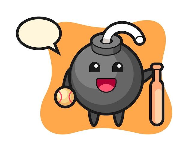 Zeichentrickfigur der bombe als baseballspieler