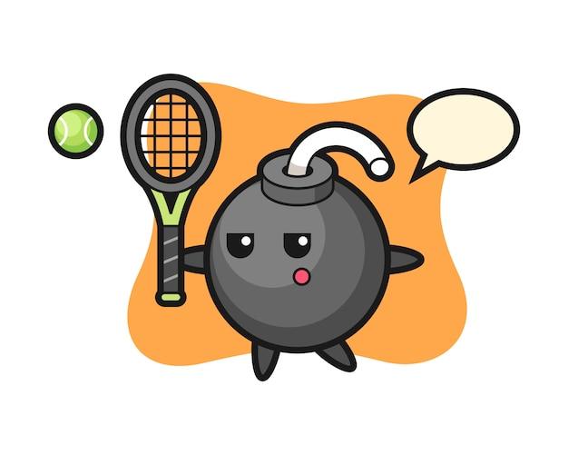 Zeichentrickfigur der bombe als tennisspieler