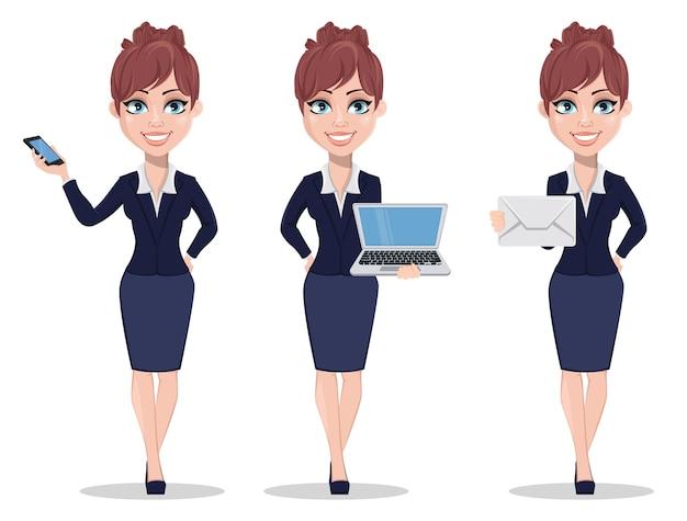 Zeichentrickfigur der geschäftsfrau, satz von drei posen