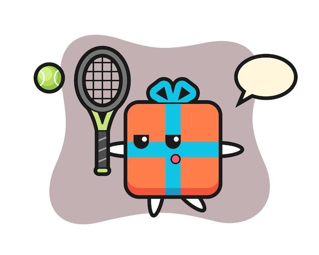 Zeichentrickfigur der geschenkbox als tennisspieler