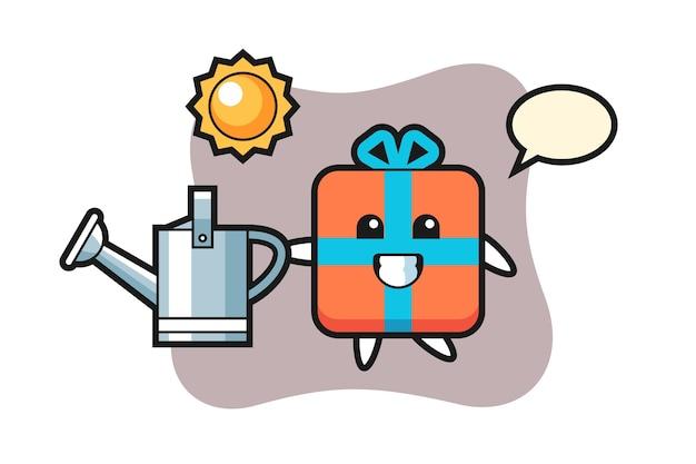Zeichentrickfigur der geschenkbox, die gießkanne hält