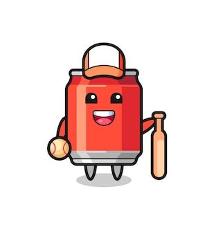 Zeichentrickfigur der getränkedose als baseballspieler, niedliches design für t-shirt, aufkleber, logo-element