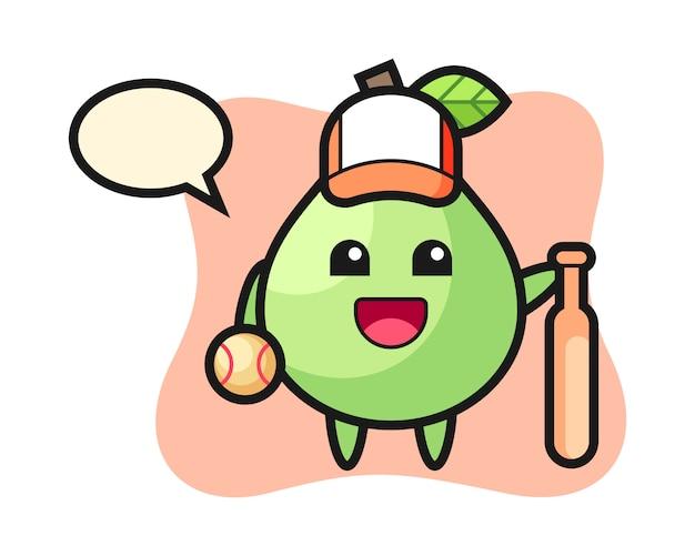 Zeichentrickfigur der guave als baseballspieler, niedlicher stil für t-shirt, aufkleber, logoelement