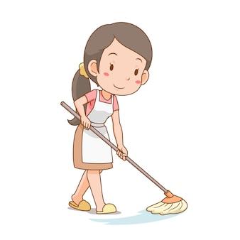 Zeichentrickfigur der hausfrau, die den boden reinigt.