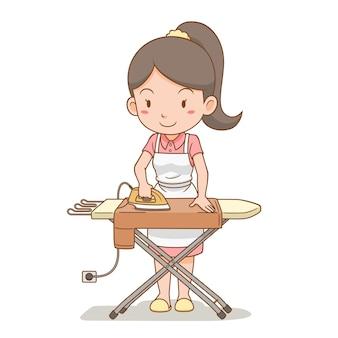 Zeichentrickfigur der hausfrau, die die kleidung auf bügelbrett bügelt.