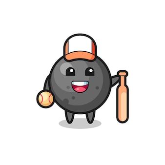 Zeichentrickfigur der kanonenkugel als baseballspieler, niedliches design für t-shirt, aufkleber, logo-element