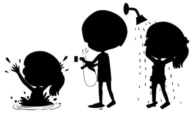 Zeichentrickfigur der kindersilhouette auf weißem hintergrund