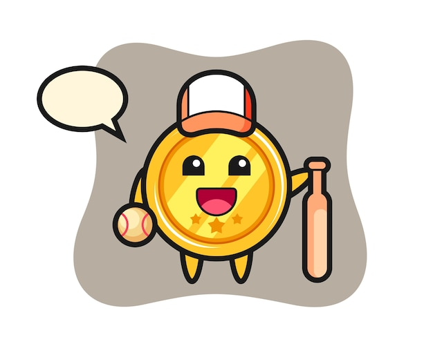 Zeichentrickfigur der medaille als baseballspieler