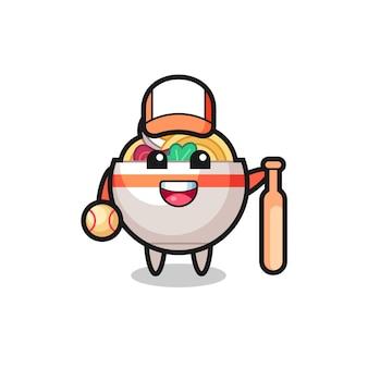 Zeichentrickfigur der nudelschüssel als baseballspieler, niedliches design für t-shirt, aufkleber, logo-element