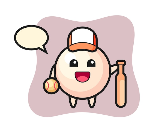 Zeichentrickfigur der perle als baseballspieler