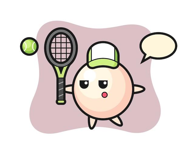 Zeichentrickfigur der perle als tennisspieler