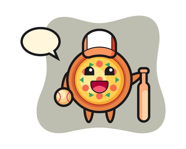 Zeichentrickfigur der pizza als baseballspieler
