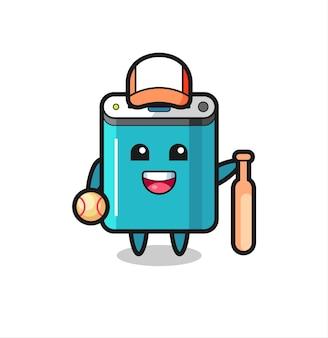 Zeichentrickfigur der powerbank als baseballspieler, niedliches design für t-shirt, aufkleber, logo-element