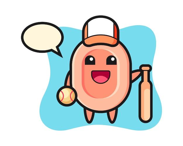 Zeichentrickfigur der seife als baseballspieler, niedlicher stil für t-shirt, aufkleber, logoelement
