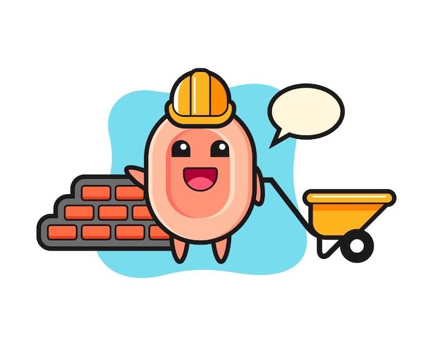 Zeichentrickfigur der seife als baumeister, niedlicher stil für t-shirt, aufkleber, logoelement
