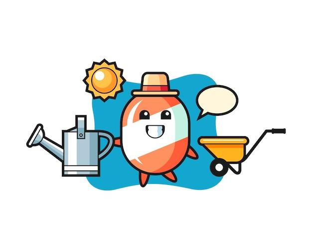 Zeichentrickfigur der süßigkeit, die bewässerungsdose hält