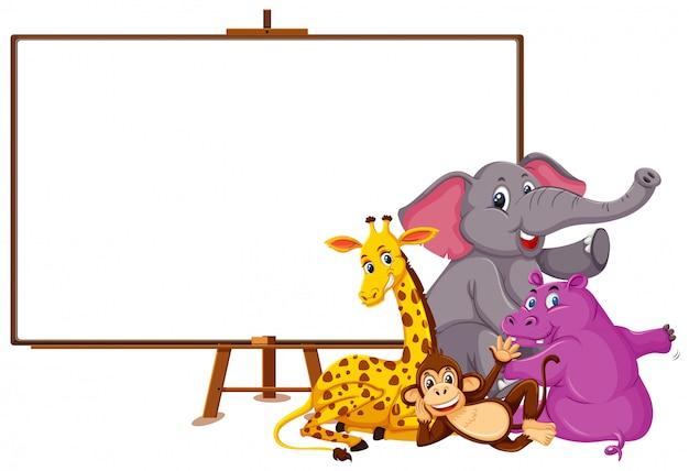Zeichentrickfigur der wilden tiere und leeres banner auf weiß