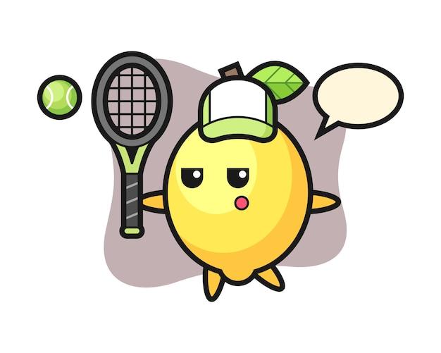 Zeichentrickfigur der zitrone als tennisspieler