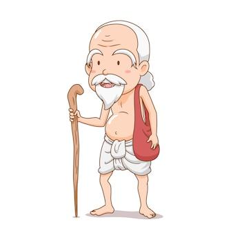 Zeichentrickfigur des alten brahmanenhaltestabes.