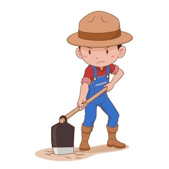 Zeichentrickfigur des bauern, der den boden gräbt.