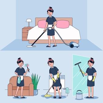 Zeichentrickfigur des dienstmädchens