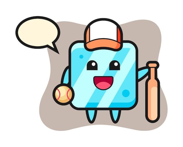 Zeichentrickfigur des eiswürfels als baseballspieler