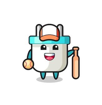 Zeichentrickfigur des elektrischen steckers als baseballspieler