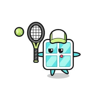 Zeichentrickfigur des fensters als tennisspieler, niedliches design für t-shirt, aufkleber, logo-element Premium Vektoren