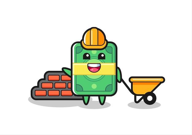 Zeichentrickfigur des geldes als baumeister, niedliches design für t-shirt, aufkleber, logo-element