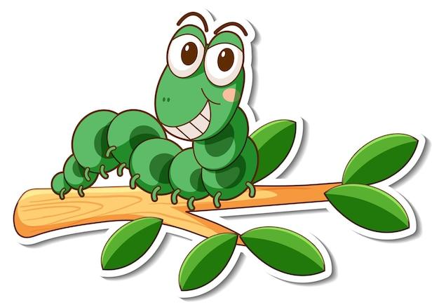 Zeichentrickfigur des grünen wurms auf einem zweigaufkleber
