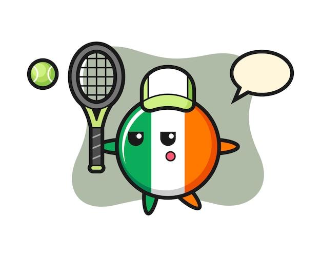 Zeichentrickfigur des irischen flaggenabzeichens als tennisspieler