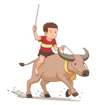 Zeichentrickfigur des jungen, der büffel im büffel-rennfest reitet.