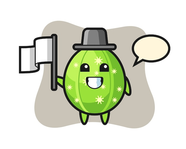 Zeichentrickfigur des kaktus, der eine flagge hält