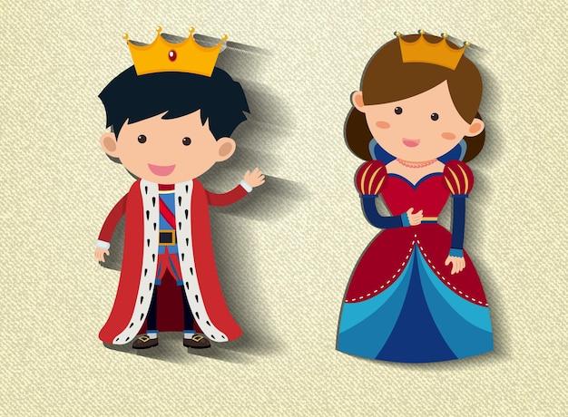 Zeichentrickfigur des kleinen königs und der königin