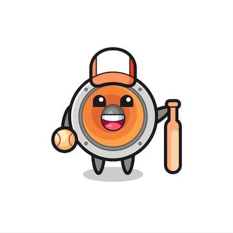 Zeichentrickfigur des lautsprechers als baseballspieler, niedliches design für t-shirt, aufkleber, logo-element