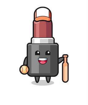 Zeichentrickfigur des lippenstifts als baseballspieler, niedliches design für t-shirt, aufkleber, logo-element