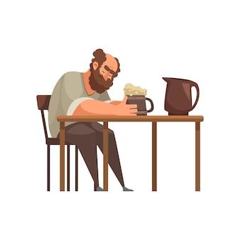 Zeichentrickfigur des mittelalterlichen mannes, der bier trinkt