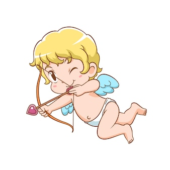 Zeichentrickfigur des niedlichen amors, der pfeil und bogen hält.