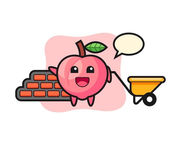 Zeichentrickfigur des pfirsichs als baumeister, niedlicher stilentwurf für t-shirt