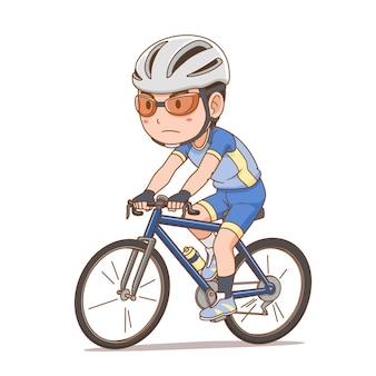 Zeichentrickfigur des radfahrerjungen.