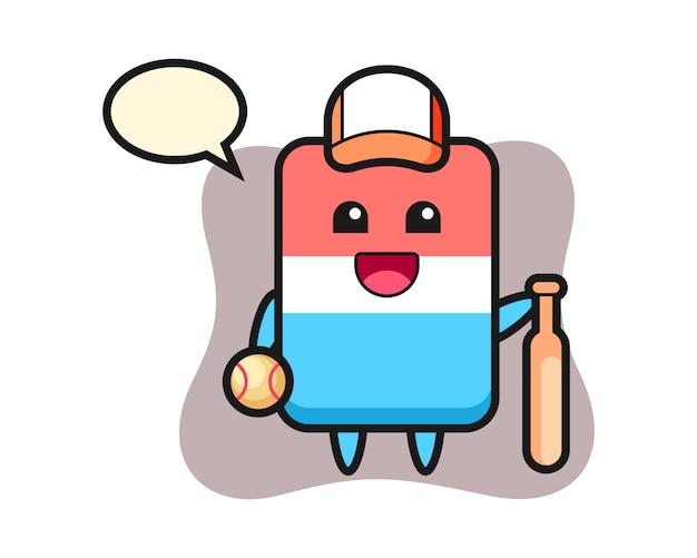 Zeichentrickfigur des radiergummis als baseballspieler, niedlicher stil, aufkleber, logoelement