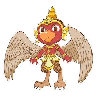 Zeichentrickfigur des roten garuda.