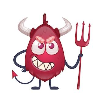 Zeichentrickfigur des roten teufels mit hörnern und schwanz, die dreizack-illustration hält