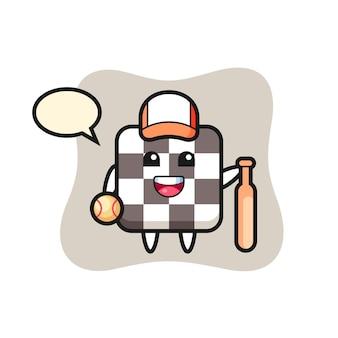 Zeichentrickfigur des schachbretts als baseballspieler, niedliches design für t-shirt, aufkleber, logo-element