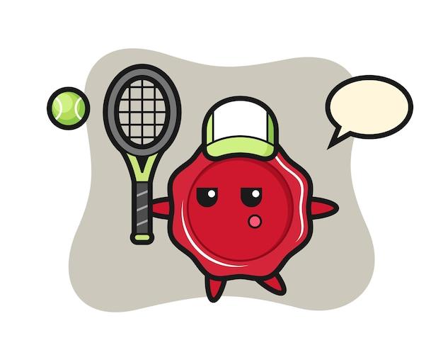 Zeichentrickfigur des siegellackes als tennisspieler