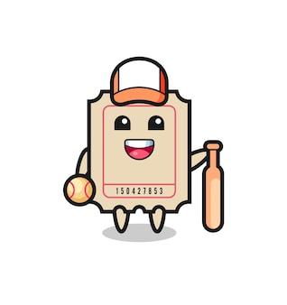 Zeichentrickfigur des tickets als baseballspieler, niedliches design für t-shirt, aufkleber, logo-element