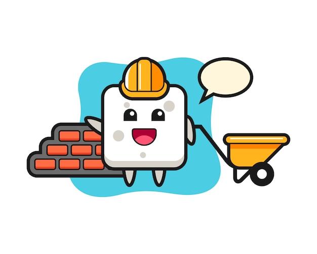 Zeichentrickfigur des zuckerwürfels als baumeister, niedlicher stil für t-shirt, aufkleber, logoelement