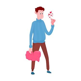 Zeichentrickfigur, die ein herz in seinen händen hält